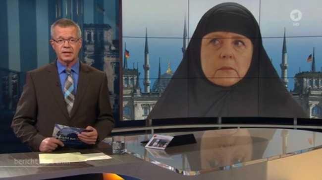 Merkel muszlim fejkendőt kapott a német tévében