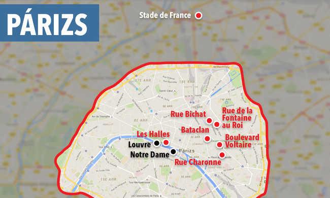 Itt történtek a merényletek Párizsban