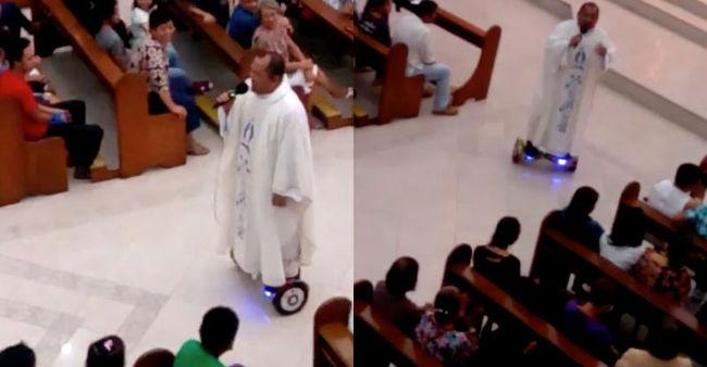 Megbüntették a papot, mert légdeszkáról celebrálta a misét - videó