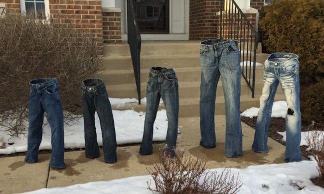 A fagyasztott nadrágszobor a legújabb téli őrület