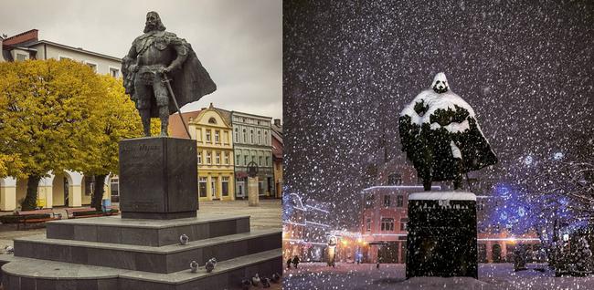 Darth Vaderré alakítja a szobrot a hóesés