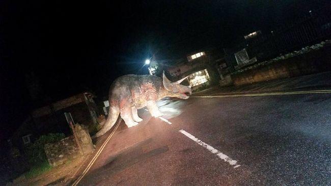 Hatalmas dinoszaurusz zavarta meg a sofőröket