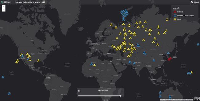 Egy térképen a világ összes nukleáris robbantása