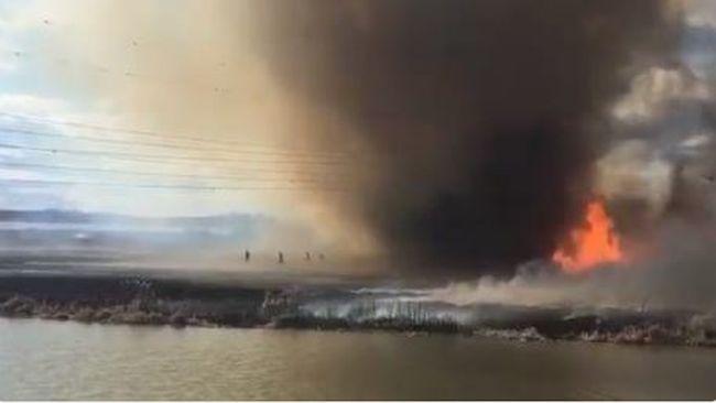 Még a tűzoltók is menekültek a tűztornádó elől - videó