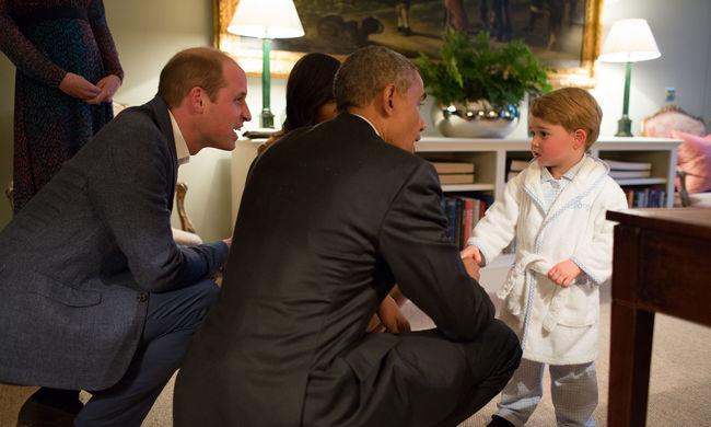 Pizsamában fogadta a kétéves herceg Obamát - galéria