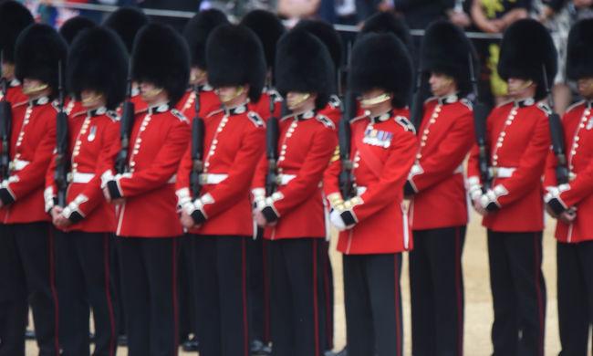 Arrcal a földre zuhant egy katona II. Erzsébet születésnapi parádéján