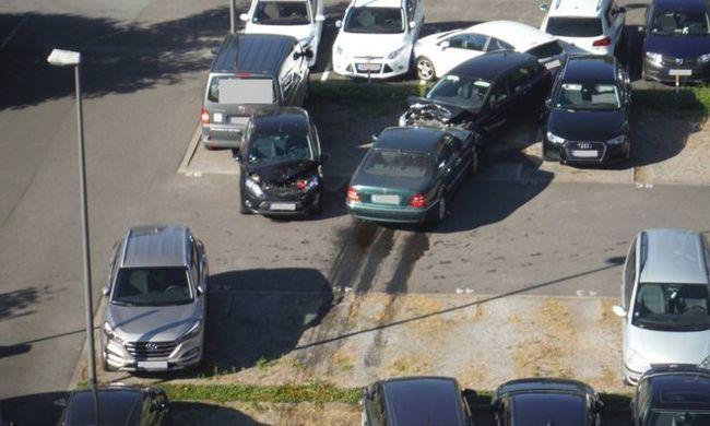 14 parkoló autóba rohant bele az idős nő