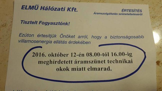 Ezt jelenti, ha az áramszünet technikai okok miatt elmarad