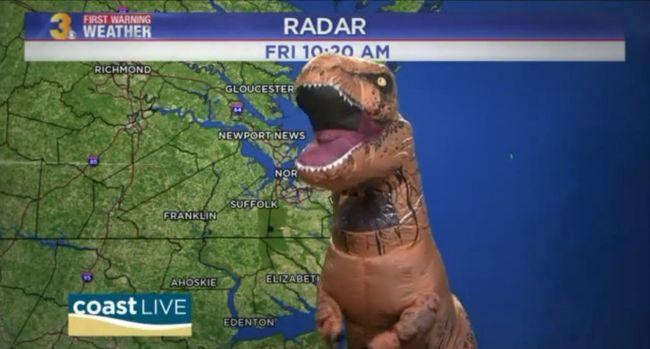 Egy dinoszaurusz tűnt fel az időjárás-jelentésben - videó
