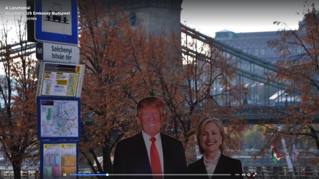 Clinton és Trump egy budapesti megállóban tűnt fel - videó