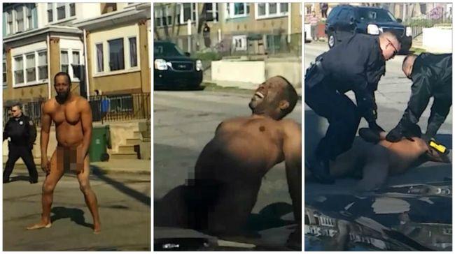 Leteperték a meztelen férfit a rendőrök - videó
