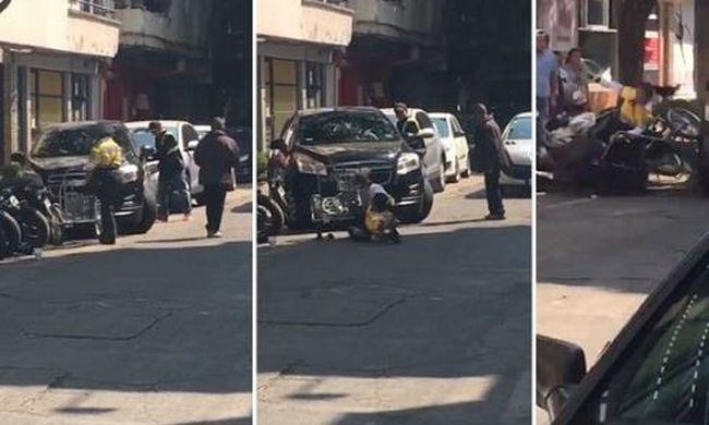 Durva videó: rendőrt gázolt a menekülő autós