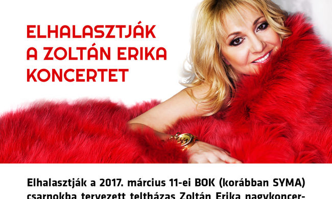 Elhalasztják a Zoltán Erika koncertet