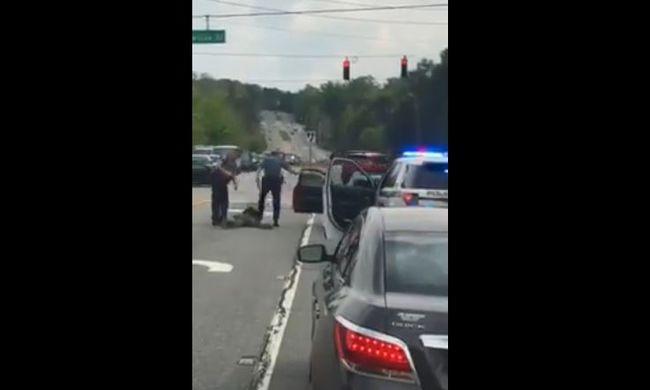 Fröcsögött a vér: a rendőrök kirángatták az autóból, megbilincselték és fejbe rúgták a férfit - videó