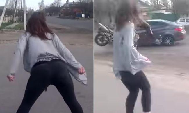 Fenékrázó tini miatt szenvedett brutális balesetet a motoros - videó