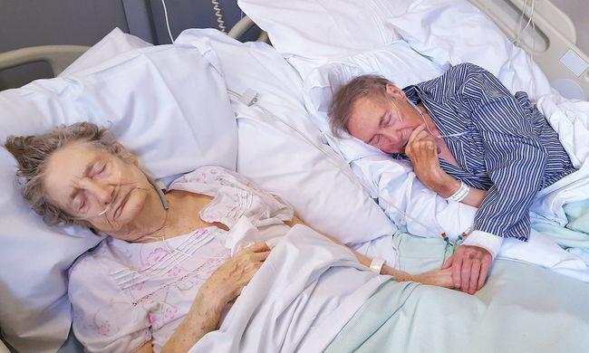 Ilyen az örök szerelem: kézen fogva, pezsgővel néz szembe a halállal a 67 éve házas idős pár