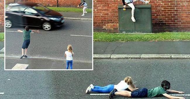 Életveszélyes játékot űznek a gyerekek, az nyer, aki több ideig fekszik a kocsik között