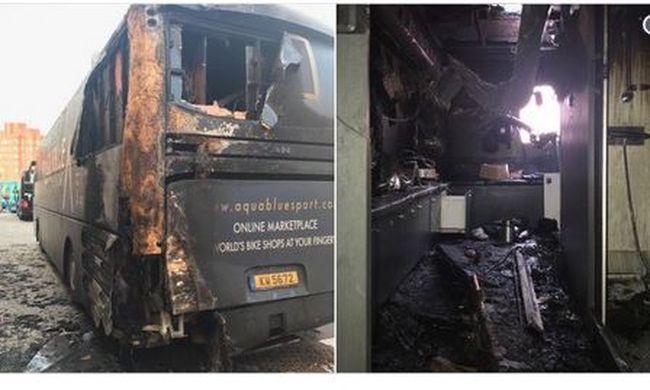 Lángokban állt a sportolók busza, szándékos gyújtogatás történt
