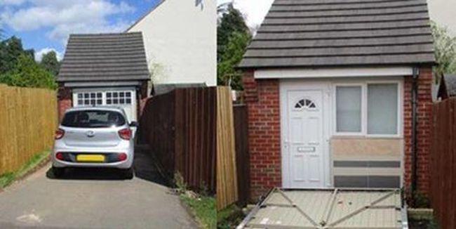 Elképesztő trükk: garázsajtó mögé rejtették a házukat