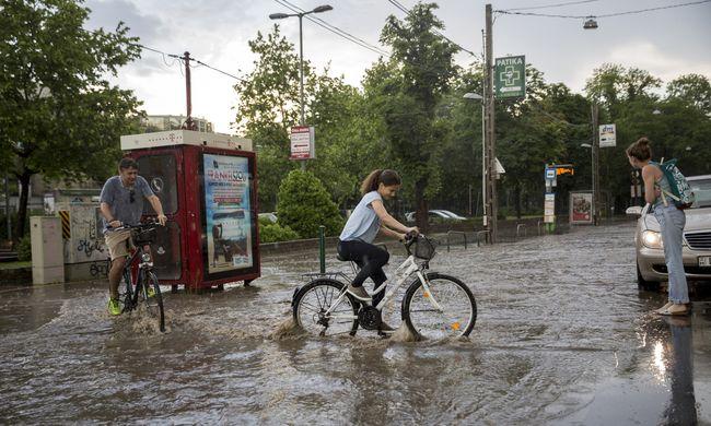 Óriási mennyiségű eső esett a fővárosban-Fotók!