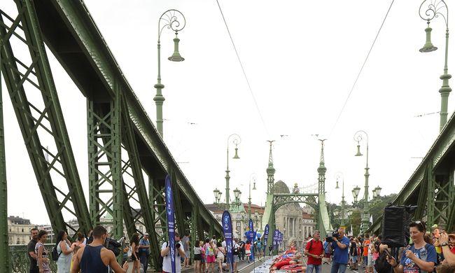 Világrekordot döntöttek a lezárt Szabadság hídon-Fotók