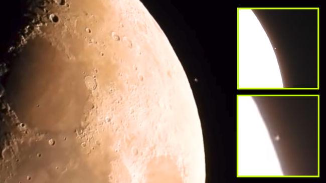 Jókora UFO lebeg a Hold mellett... még a Földről is látni