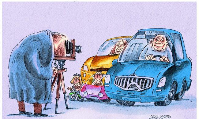 Karikatúrapályázat: Közlekedik a család