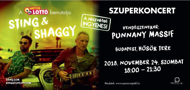A Hatoslottó bemutatja: Szuperkoncert Sting&Shaggy, vendégzenekar Punnany Massif