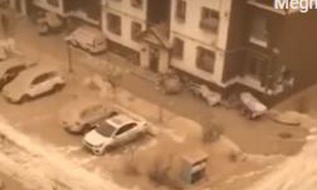 Hihetetlen videó, sárga hó hullott az égből