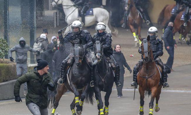 Erőszakba torkollott a tüntetés Brüsszelben
