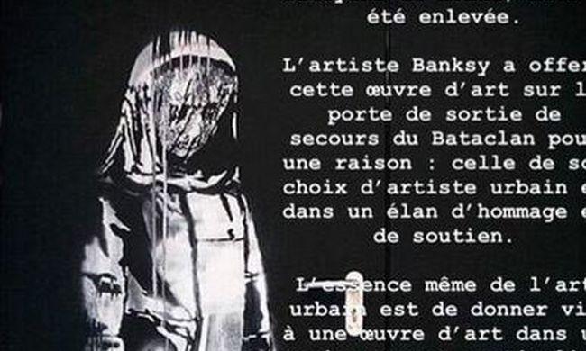 Ezzel emlékezett a párizsi terrortámadás áldozataira, ellopták Banksy graffitijét